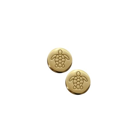 Gold - Disc Turtle Earring