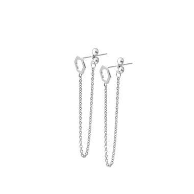Silver - Hexagon Chain Stud