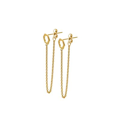 Gold - Hexagon Chain Stud