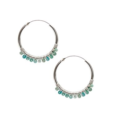 Silver- Turquoise Hoop Lge