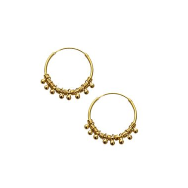 Gold- Beaded Hoop Sml