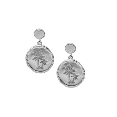 Silver - Coin Palm Earring
