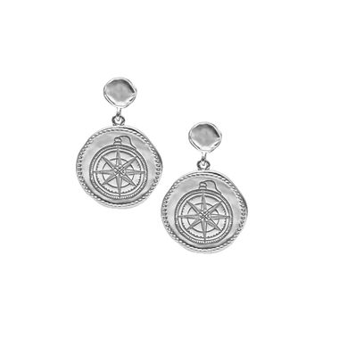 Silver - Coin Compass Earring
