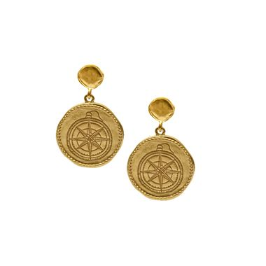 Gold - Coin Compass Earring