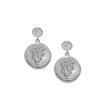 Silver - Coin Coral Earring