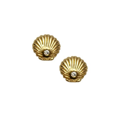 Gold - Shell & Crystal Stud
