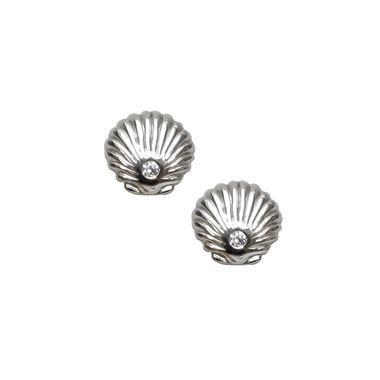 Silver - Shell & Crystal Stud