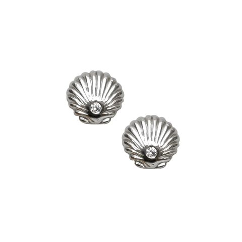 Silver - Shell & Crystal Stud