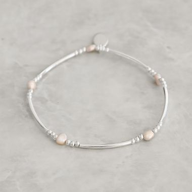 Silver- Pink Pearl Bracelet