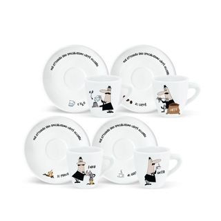 """Bialetti Espresso Cup """"How To Make"""" 4 Piece Set"""