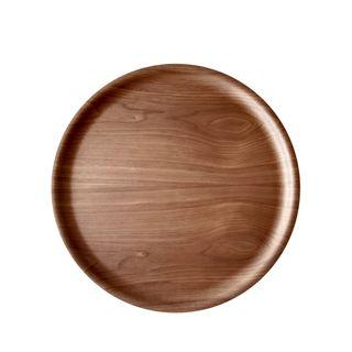 Atiya Round Wooden Tray Walnut 35cm
