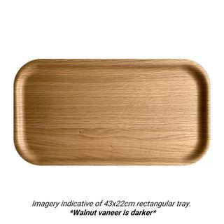 Atiya Rectangle Wooden Tray Walnut 43x22cm