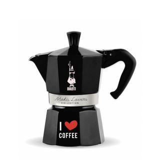 Bialetti Moka Express 6 Cup Black I Love Coffee