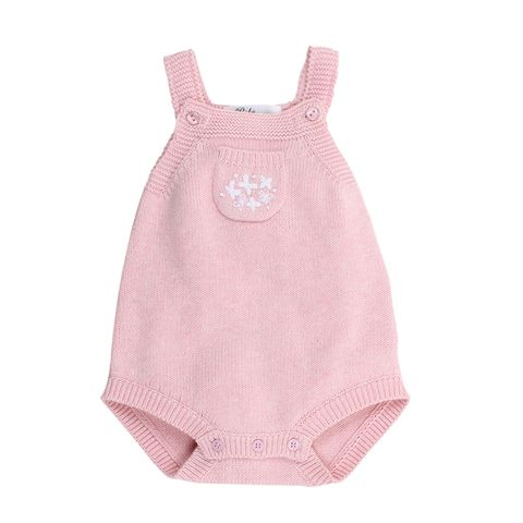 Bebe Baby Girls Leah Emb Knit Bodysuit Pink Marle