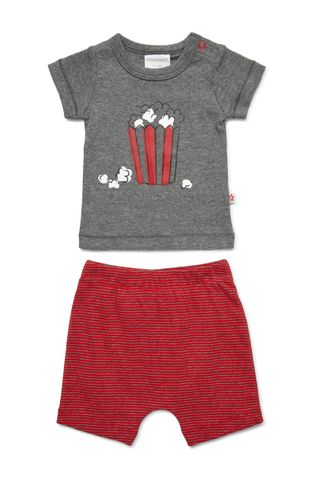 Marquise Baby Boys Tshirt and Shorts Charcoal /Red