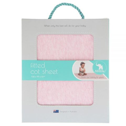 All 4 Ella Fitted Cot Sheet Marle Pink
