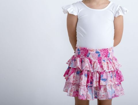 Little Hearts Fluro Pink Floral Tiered Skirt