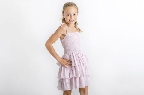 Little Hearts Ocelot Blush Tiered Shirred Dress