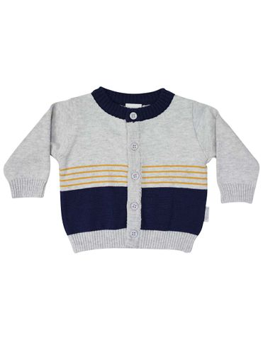 Korango Truck Yeah Knit Cardigan Grey Navy Stripe