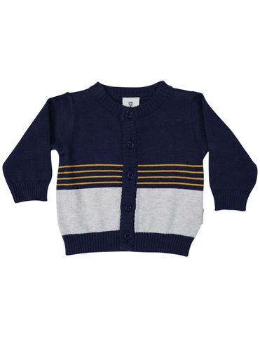 Korango Truck Yeah Knit Cardigan Navy Grey Stripe