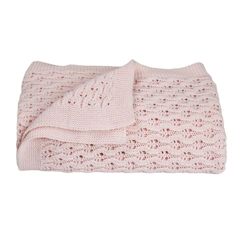 Living Textiles Pink Lattice Baby Blanket