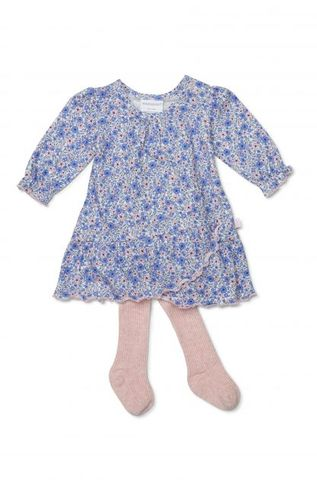Marquise Periwinkle Dress & Footed Pink Tights