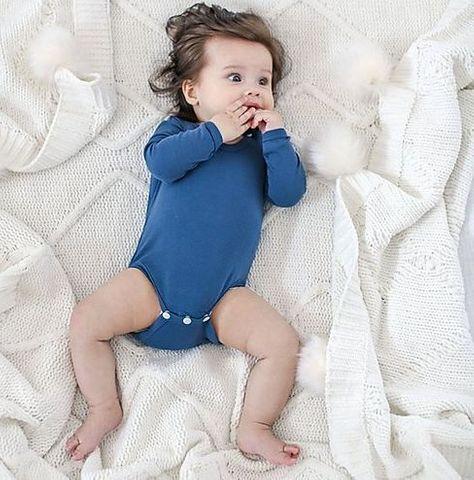 Bambino & Bundles Organic Cotton Bodysuit Navy Blue