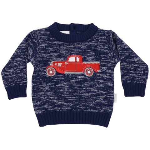 Korango Vintage Car Knit Sweater Navy Fleck