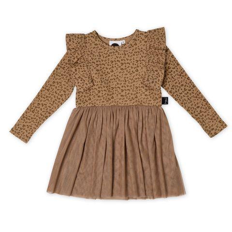 Kapow Leo Rib Tutu Dress Milk Chocolate Brown