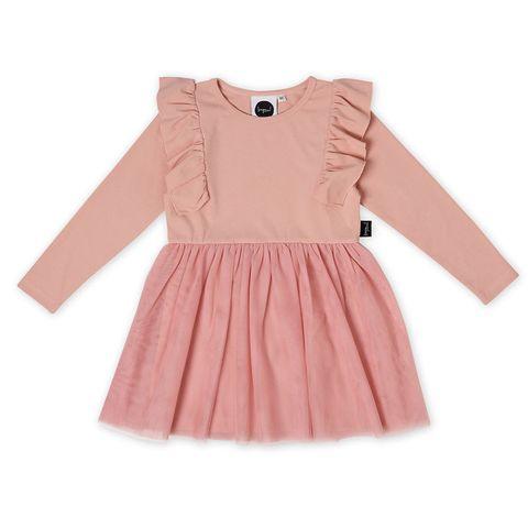 Kapow Dusty Rose Rib Kids Tutu Dress