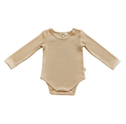 India & Grace Ribbed Baby Basics Beige Onesie