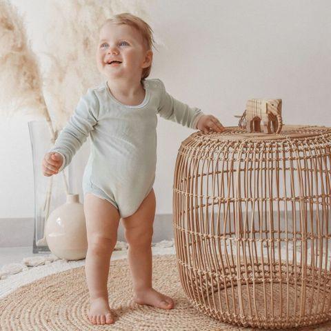 India & Grace Ribbed Baby Basics Dusty Sage Onesie