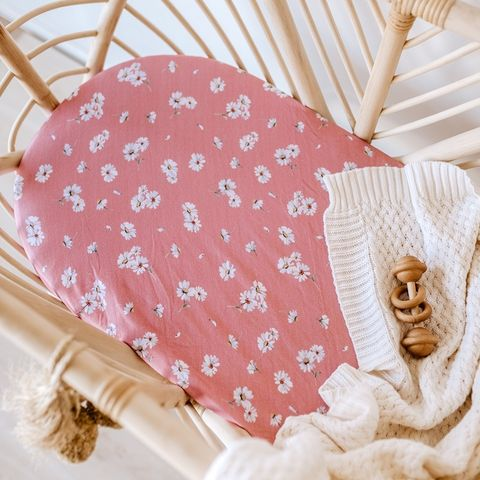 Snuggle Hunny Kids Daisy Fitted Bassinet Sheet or Change Pad Cover