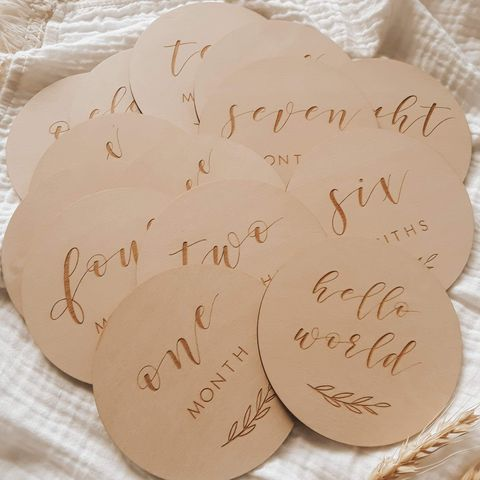 Blossom & Pear Etched Wooden Baby Milestone Set Leaf