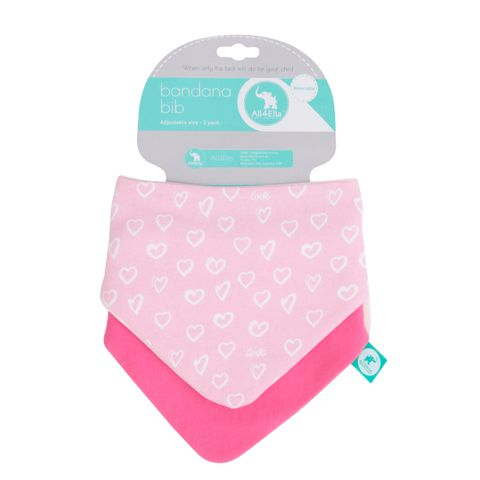 All 4 Ella Hearts Reversible Bandana Bib 2 Pack
