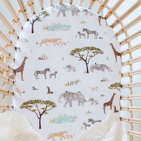 Snuggle Hunny Kids Safari Bassinet Sheet
