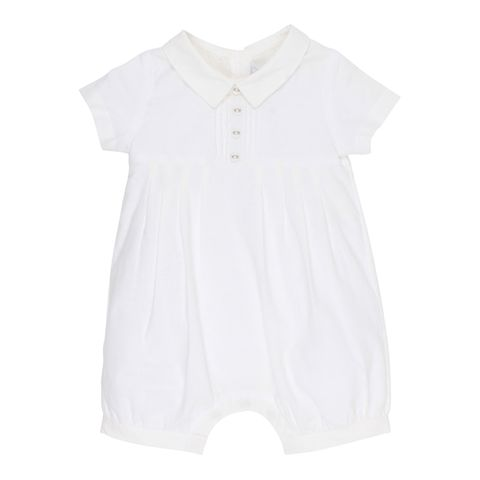 Bebe Boys Pleat Romper Ivory