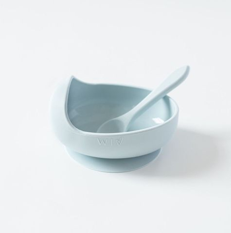 Wild Indiana Duck Egg Blue Silicone Bowl + Spoon Set