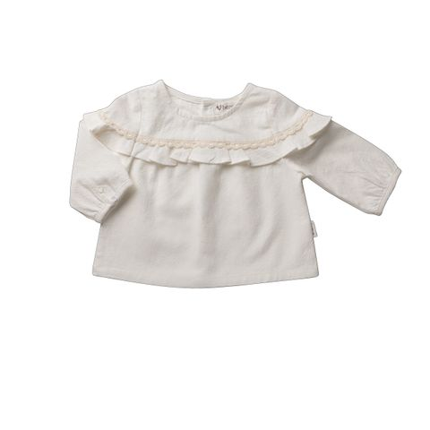 Love Henry Frill Bodice Top White