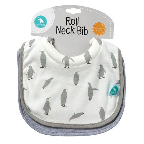 All 4 Ella Penguin Roll Neck Bib 2 Pack