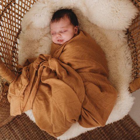 Halo & Horns Bamboo Muslin Baby Wrap Ginger
