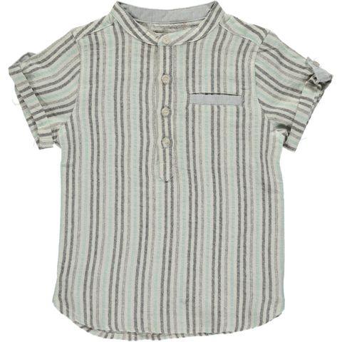 Me & Henry Aqua & Charcoal Stripe Round Neck Shirt