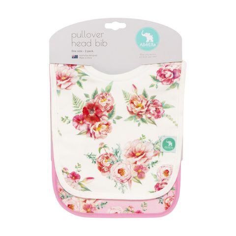 All 4 Ella Floral Pullover Bibs 2 Pack