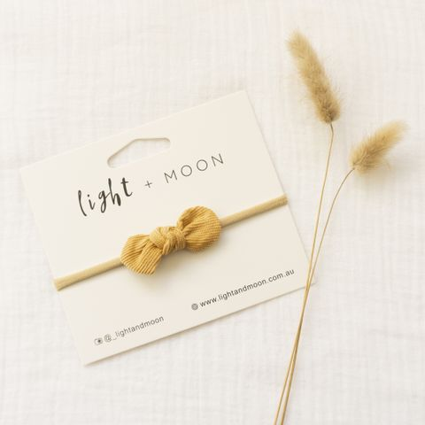 Light & Moon Mini Bow Headband Mustard