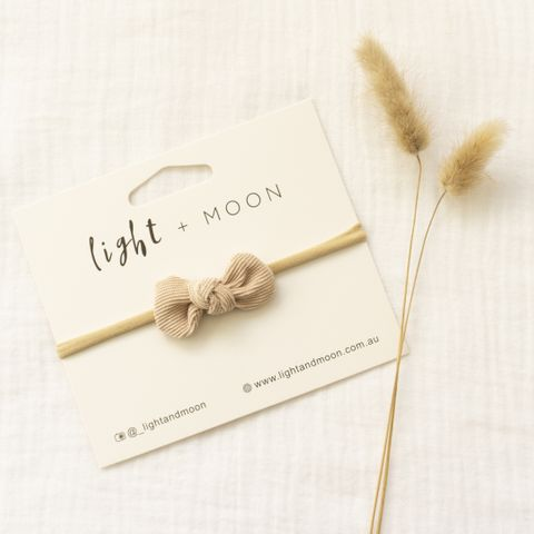 Light & Moon Mini Bow Headband Beige