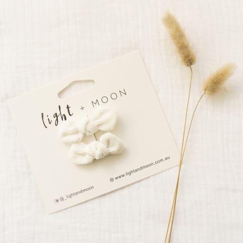 Light & Moon Bow Clip Pack White