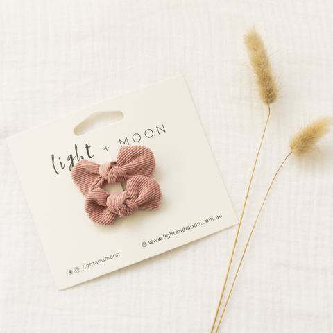 Light & Moon Bow Clip Pack Dusty Rose