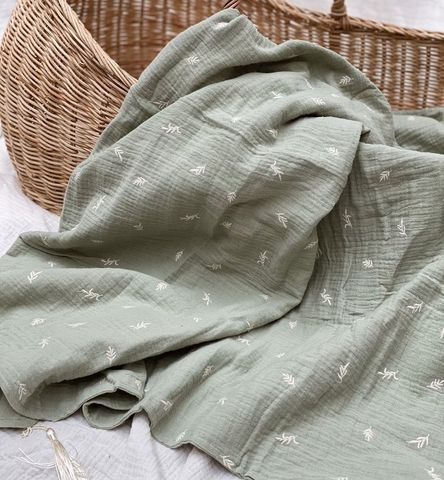 Pop ya tot Embroided Muslin Blanket Botanic