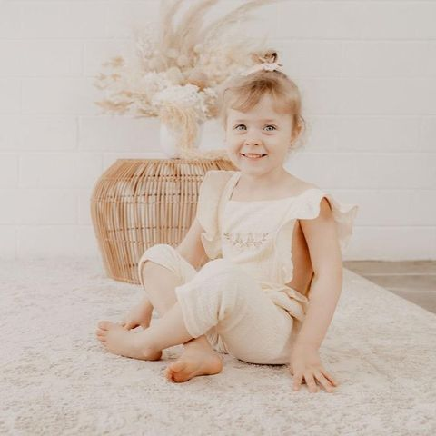 India & Grace Embroidered Jumpsuit Cream