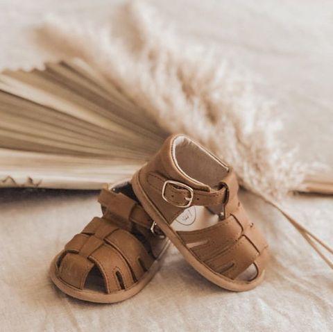 Little Mazoes Zoe Sandal Brown Wax Leather